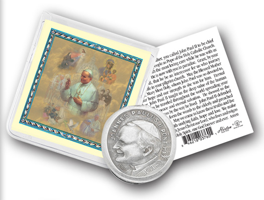 Saint Pope JP II Pocket coin in folder