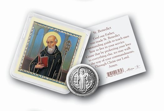 St. Benedict Pocket token in pouch with full color insert