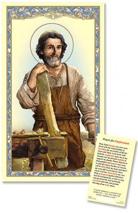 St. Joseph the worker with Prayer for employment Laminated holy card