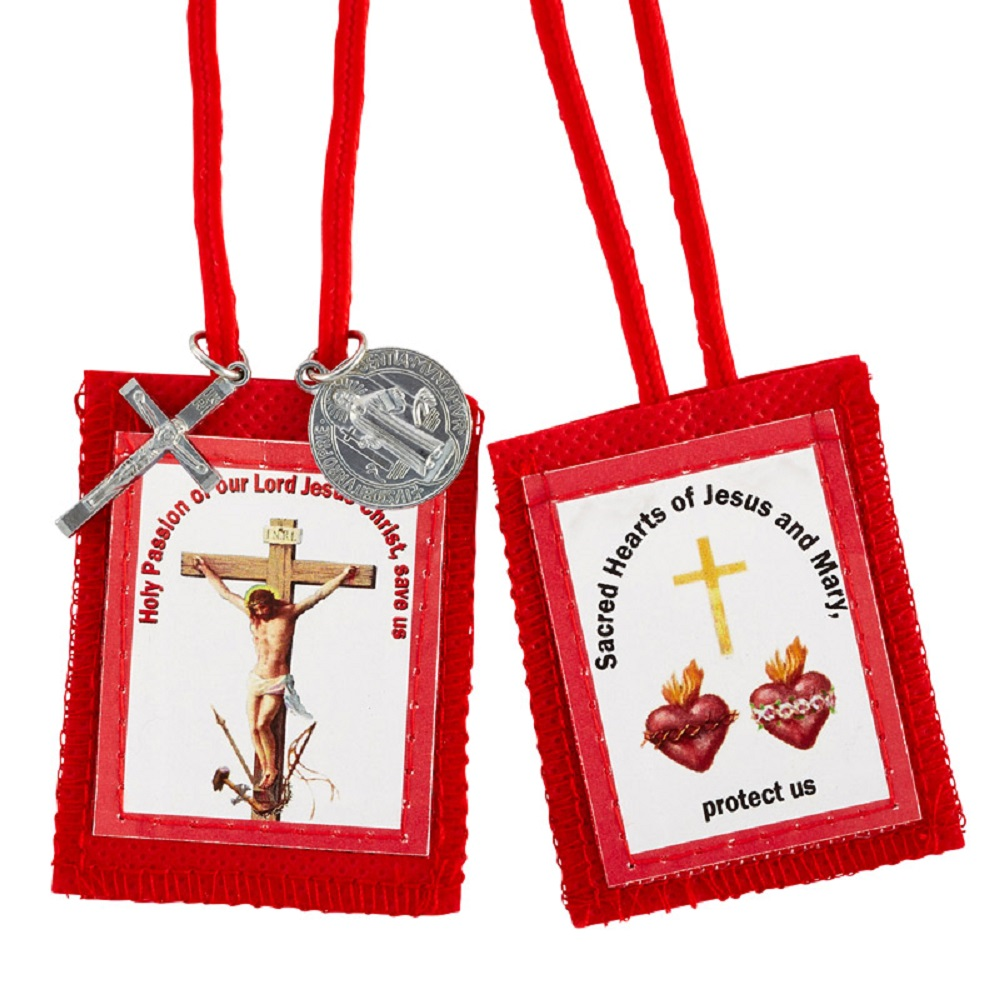 Red Passion Scapular with Medals