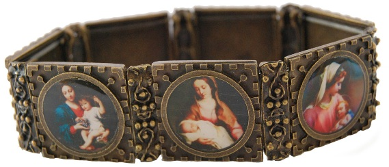 New Deluxe Antiqued Gold Blessed Virgin Bracelet