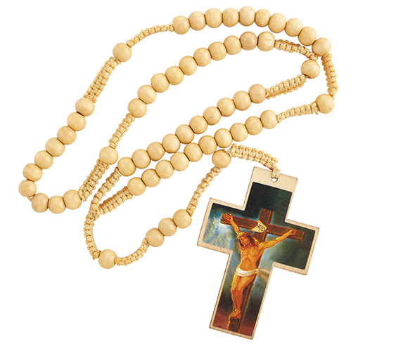 Our Father Natural Corded Wood Rosary