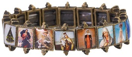 Beautiful Antiqued Gold Bracelet of Virgin Mary