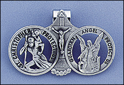Christopher With Guardian Angel visor clip