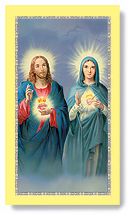 Two Hearts holy card