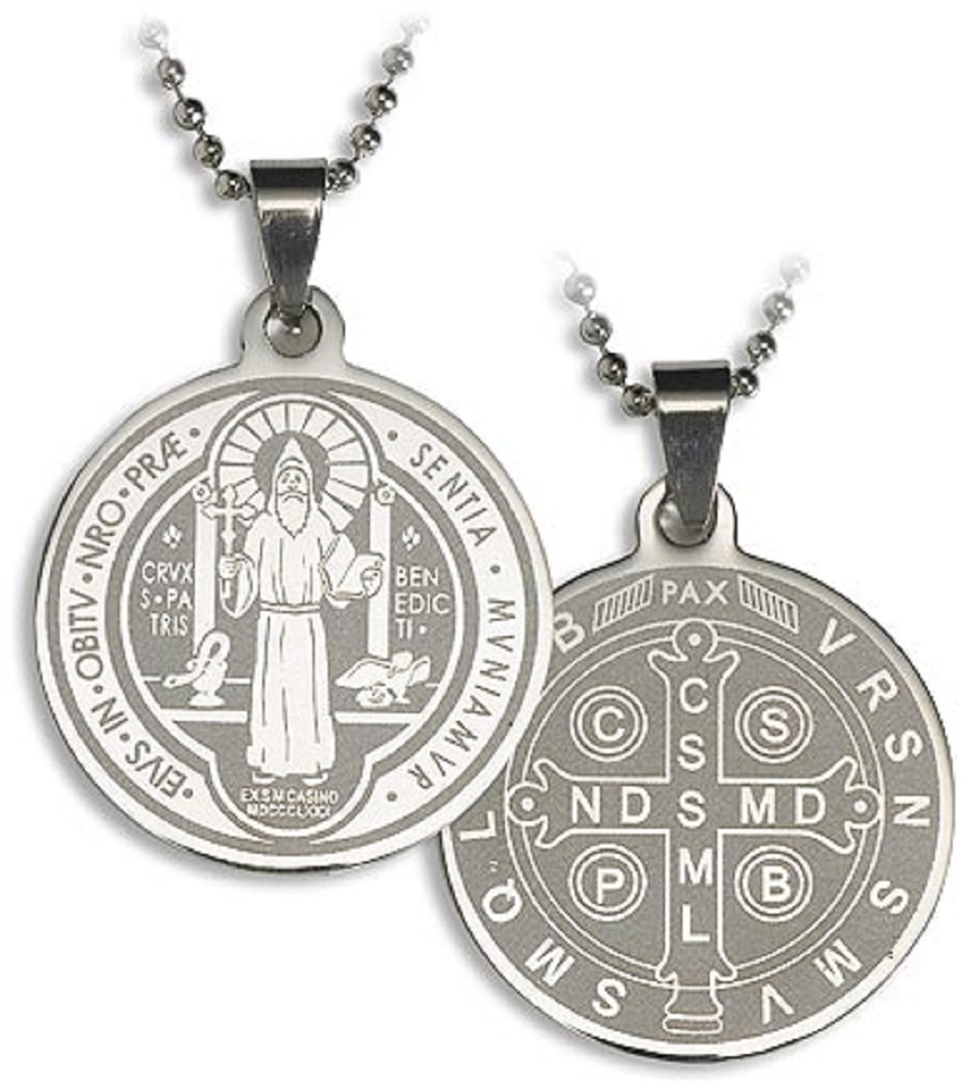 St. Benedict Laser Cut Medal on Chain