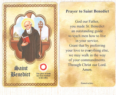 Saint Benedict Relic Holy Card