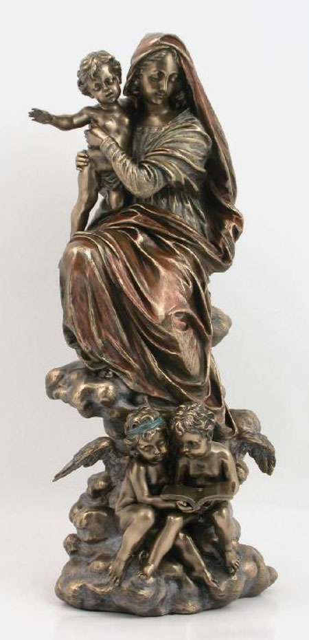 Large Bronze Madonna with Chlid and Angels statue