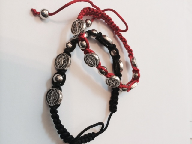 St. Benedict Corded Medals Bracelet in Red or Black