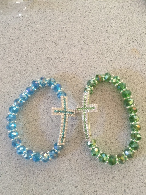 Gemstone Crucifix Bracelets in Assorted Colors