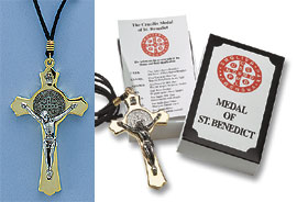 Gold tone St. Benedict's crucifix on cord in gift box