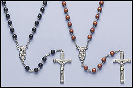 Real Brown Wood Bead Rosary
