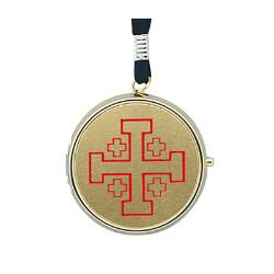Pyx with Cord With Body Of Christ words - Beautiful and Brass Plated -