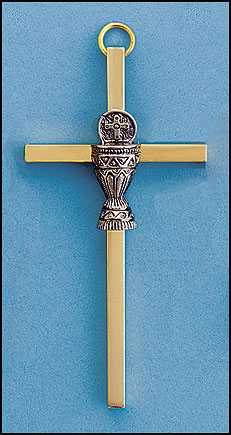 4 Inch Brass Communion Chalice wall cross