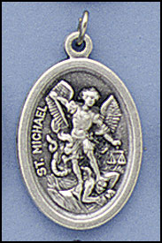OVAL OXIDIZED MEDALS, St. Michael