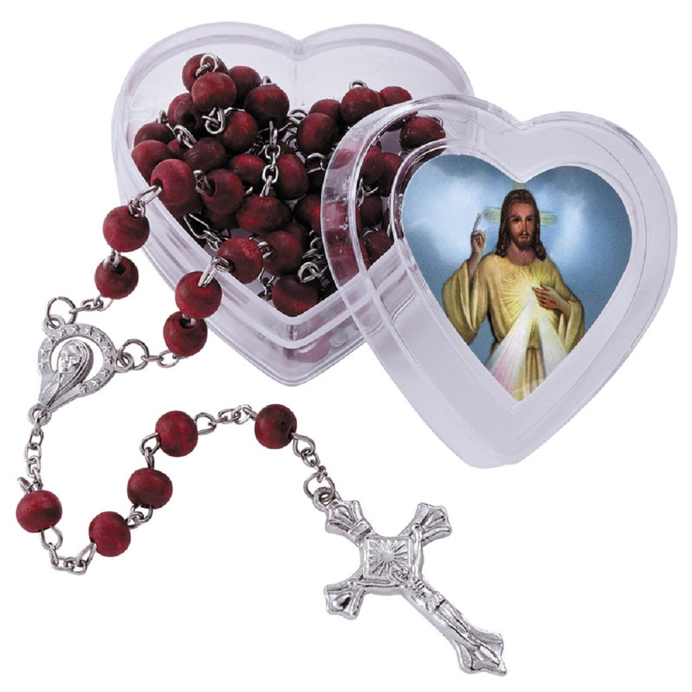 Divine Mercy Jesus Rose Rosary in Case