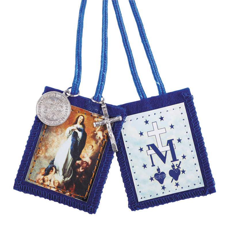 Blue Immaculate Conception Scapular with Medals