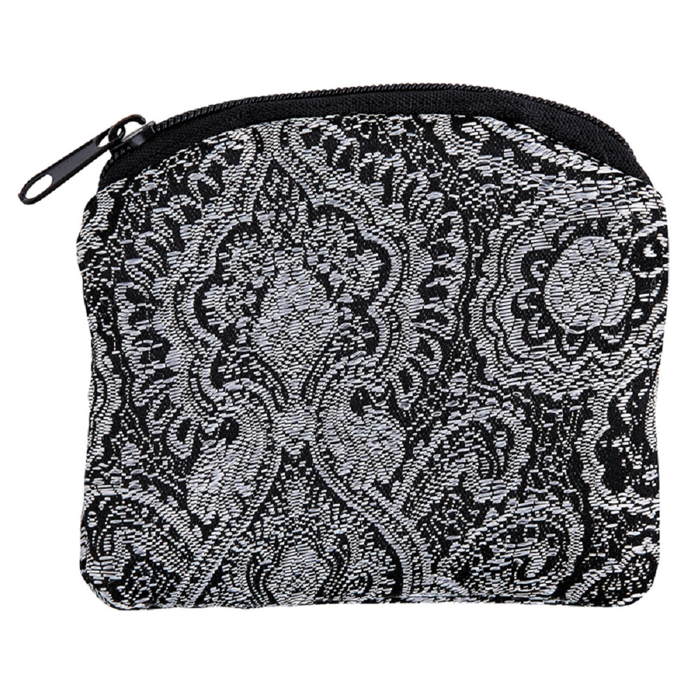 Black and White Rosary Brocade Pouch