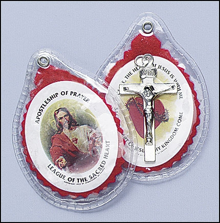 Sacred Heart Badge with Crucifix