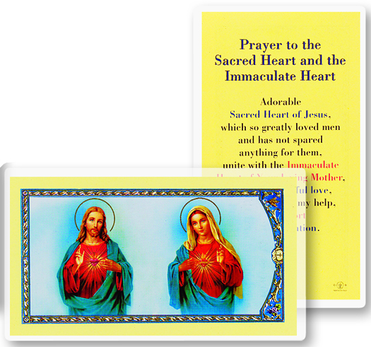 Two Hearts w/Consecration Prayer, laminated holy card