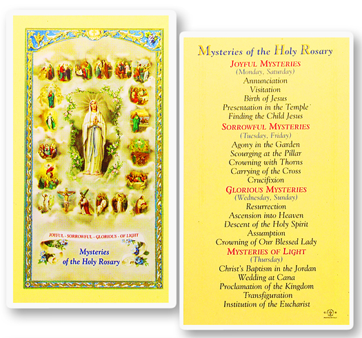 20 Rosary Mysteries laminated holy card