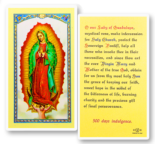 Paper Holy Card, Our Lady of Guadalupe