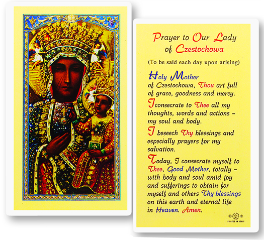 Our Lady/Czestechowa, laminated holy card