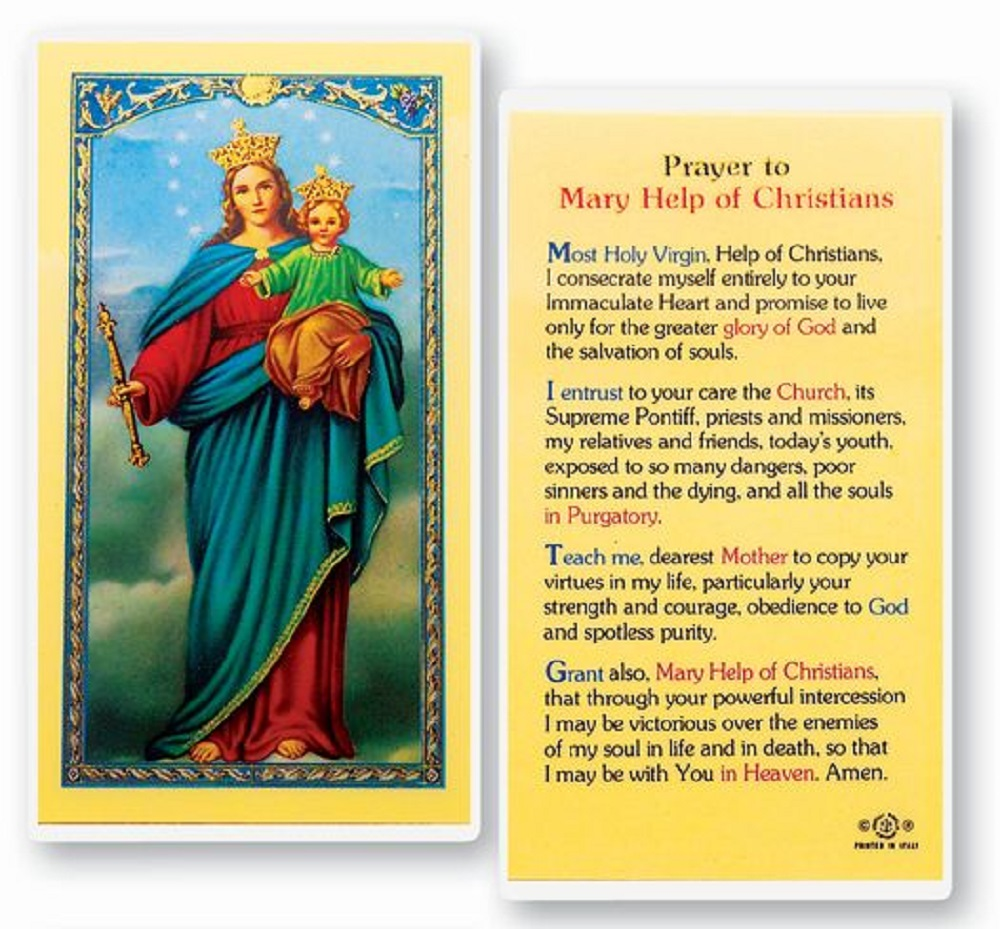 Mary Help of Christians Laminated Holy Card