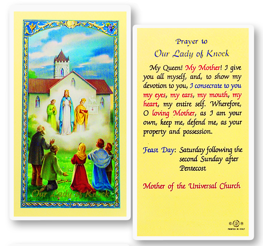 Knock laminated Holy card