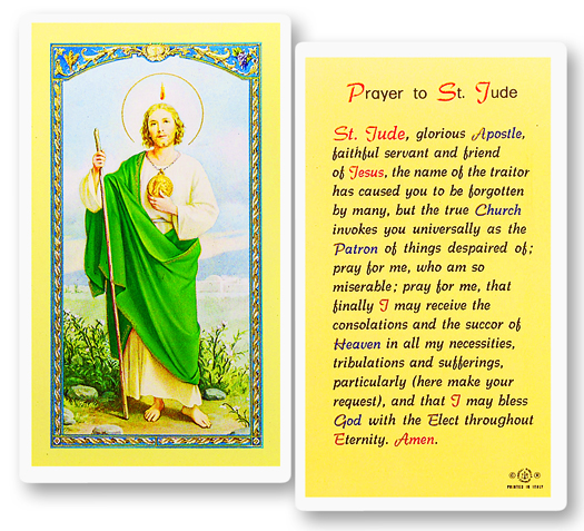 St. Jude laminated holy card