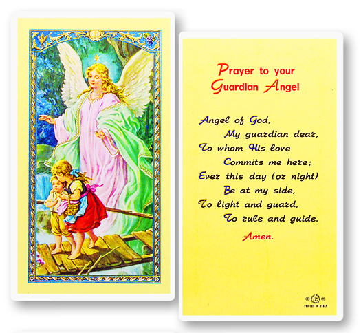 Guardian Angel, laminated holy card