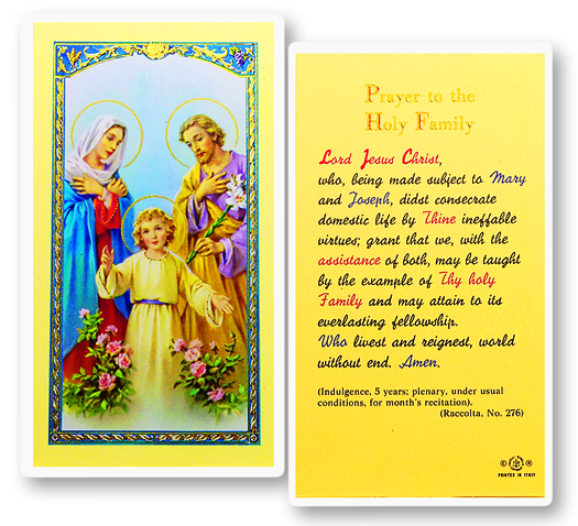 Mary and Joseph, laminated holy card