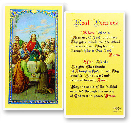 Last Supper with Grace for meals, laminated holy card