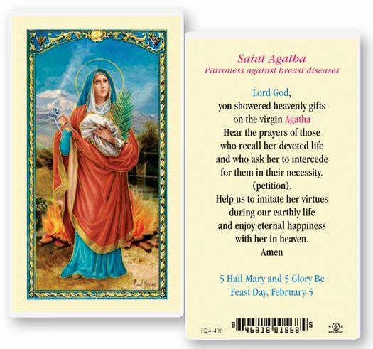 St. Agatha Laminated Holy card