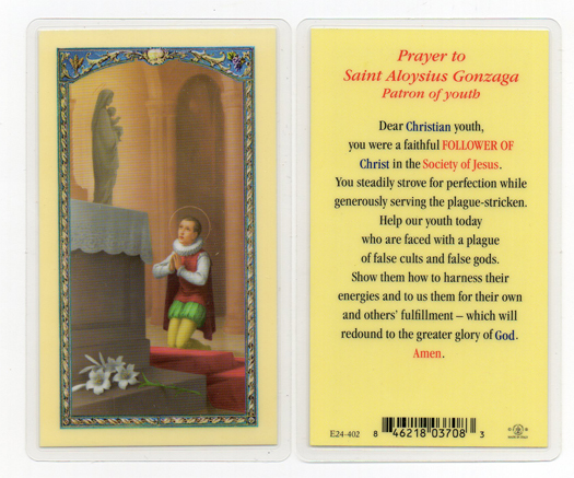 St. Aloysius laminated holy card