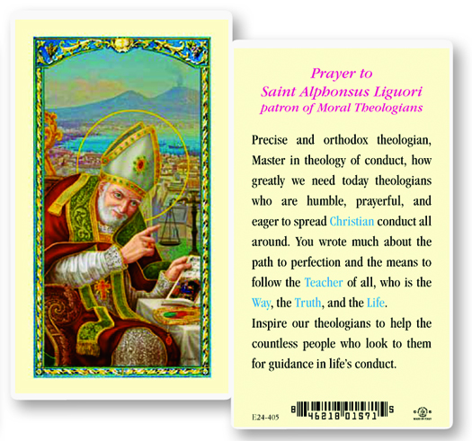 St. Alphonsus, (arthritis) laminated holy card