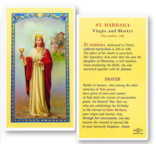St. Barbara Virgin and Martyr, laminated holy card