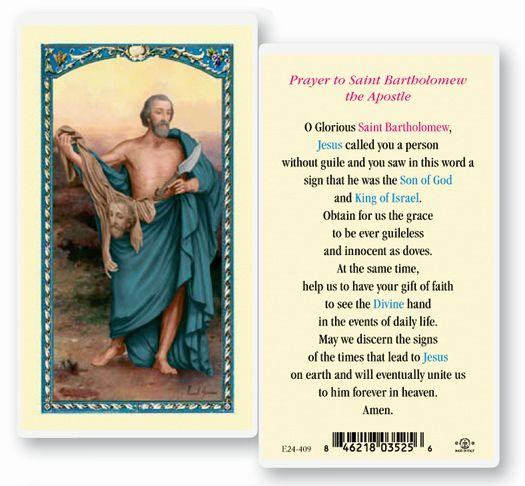 St. Bartholemew, laminated holy card