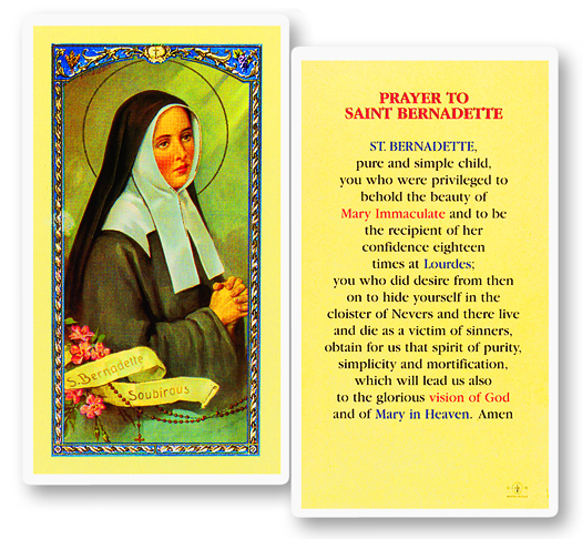 St. Bernadette laminated holy card
