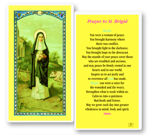 St. Brigid,(Ireland) laminated holy card