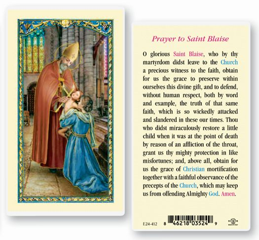 St. Blaise holy card