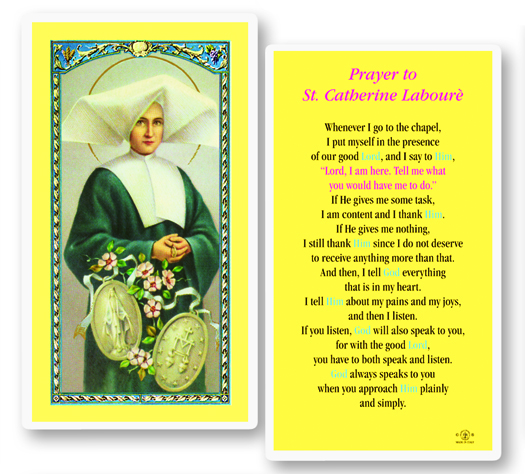 St. Catherine LaBoure w/ Miraculous Medal laminated holy card