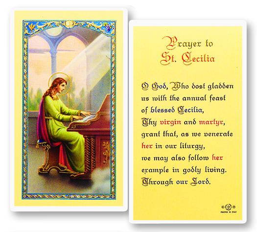 St. Cecelia (Patron saint of musicians) laminated holy card