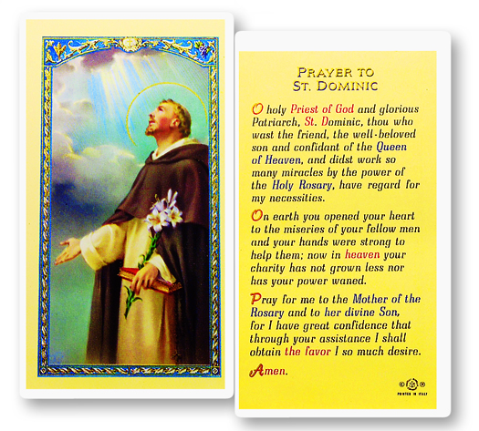 St. Dominic, laminated holy card