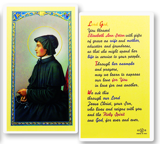 Elizabeth Ann Seton, laminated holy card