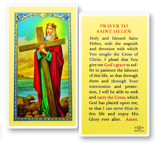 St. Helen laminated holy card