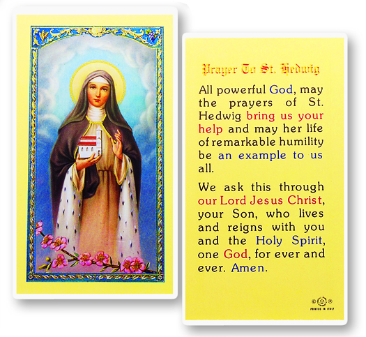 St. Hedwig laminated holy card