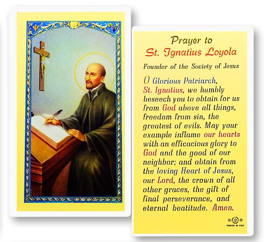 St. Ignatius Loyola laminated holy card