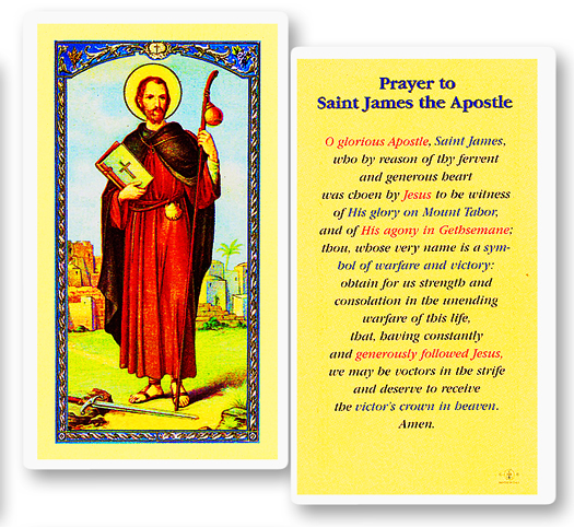 St. James the Greater (Apostle), laminated holy card