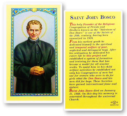 St. John Bosco laminated holy card